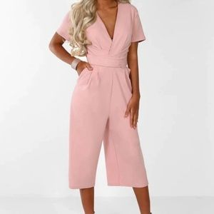 Cropped Jumpsuit in Pink Size M